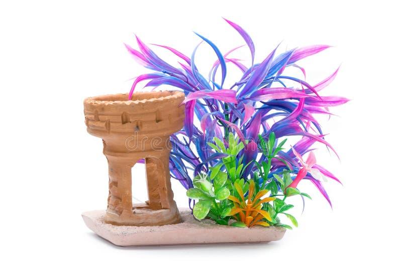 Växter för vatten för Artificiail plast-gräsplan för akvariumgarnering royaltyfri foto