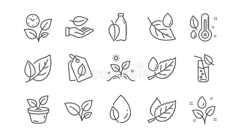 Växter fodrar symboler Blad, växande växt och fuktighetstermometer Linjär symbolsuppsättning vektor vektor illustrationer