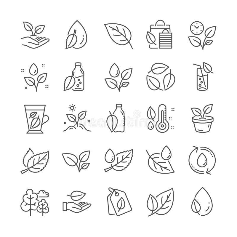 Växter fodrar symboler Ställ in av bladet, den växande växten och fuktighetstermometersymboler vektor vektor illustrationer