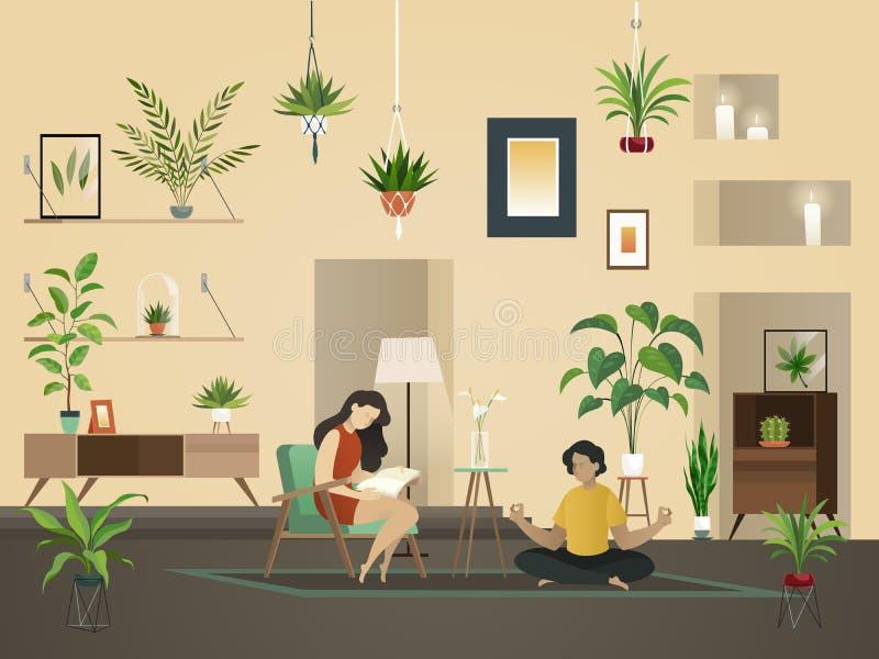 Växter hemma inomhus Stads- trädgård med grönt plantera och folk i inre vektorillustration för rum royaltyfri illustrationer