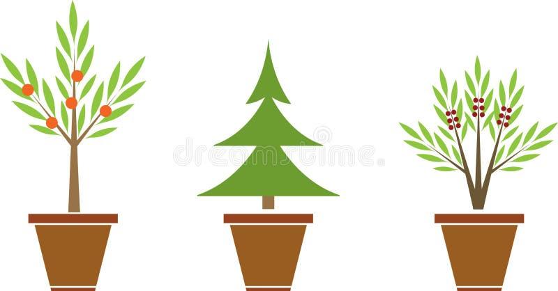 Växter i krukor stock illustrationer