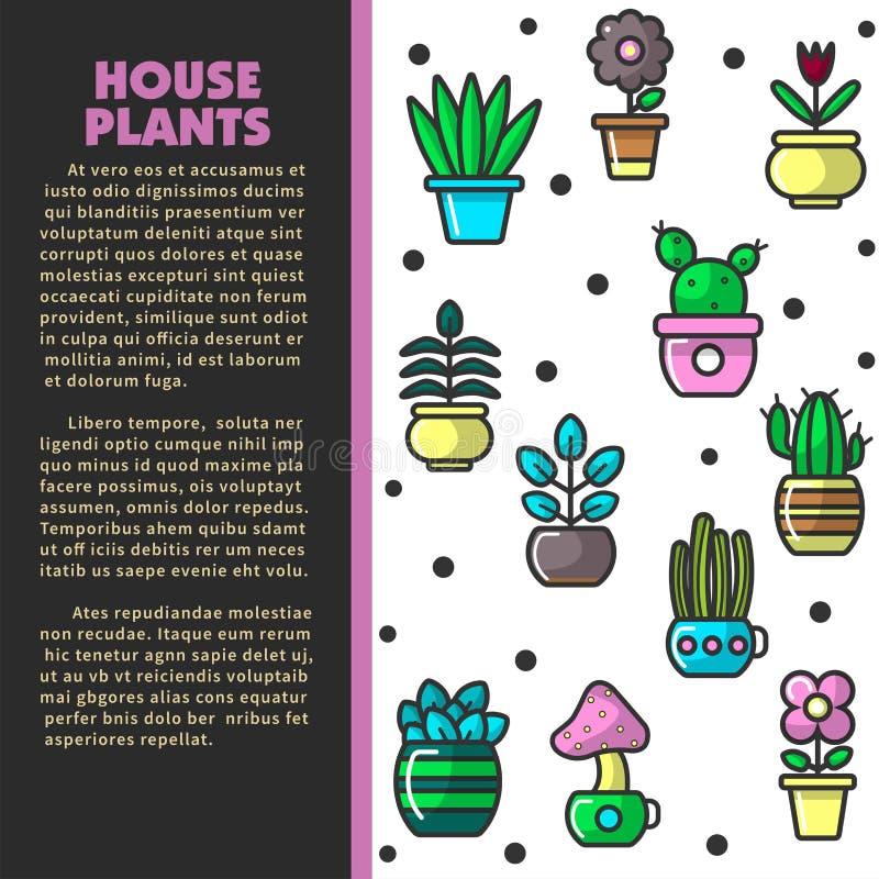 Växter och blommor för husväxter inomhus i krukaaffisch stock illustrationer