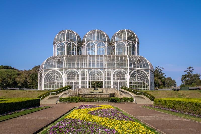 Växthus av den Curitiba botaniska trädgården - Curitiba, Parana, Brasilien arkivbild