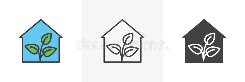 Växthus med växtsymbolen stock illustrationer