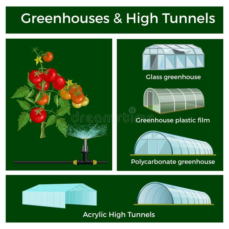 Växthus och hög tunneluppsättning stock illustrationer