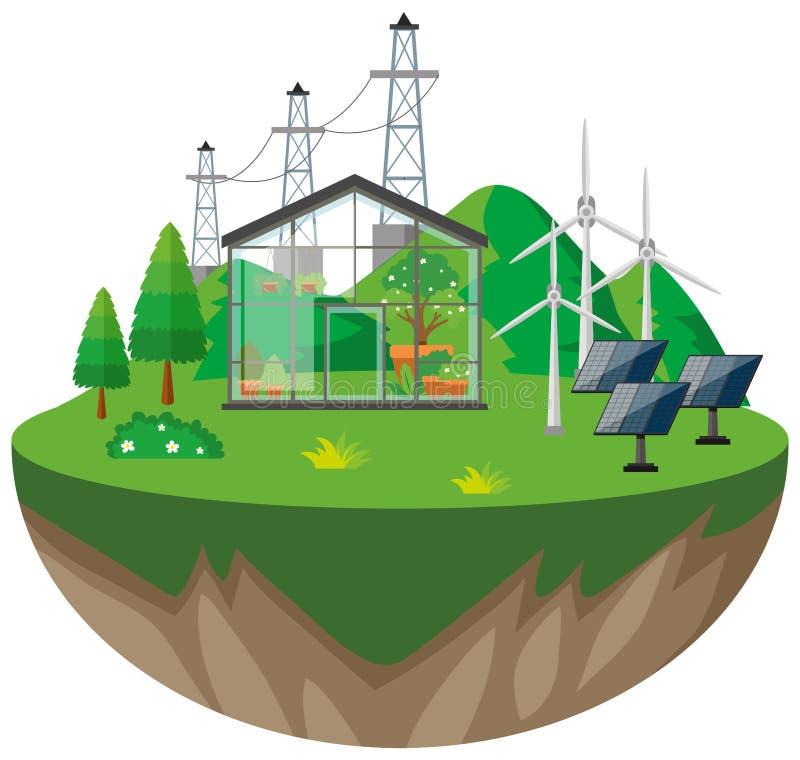 Växthus- och vindturbiner royaltyfri illustrationer