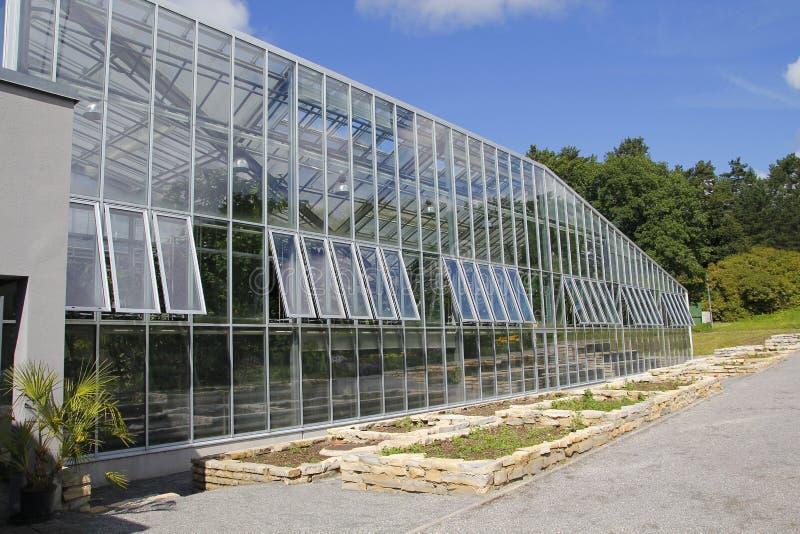 Växthusexponeringsglasfasad fotografering för bildbyråer