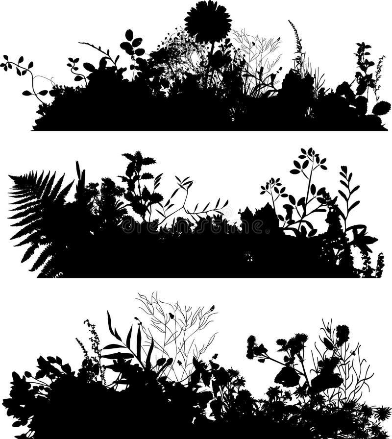 växtsilhouette stock illustrationer