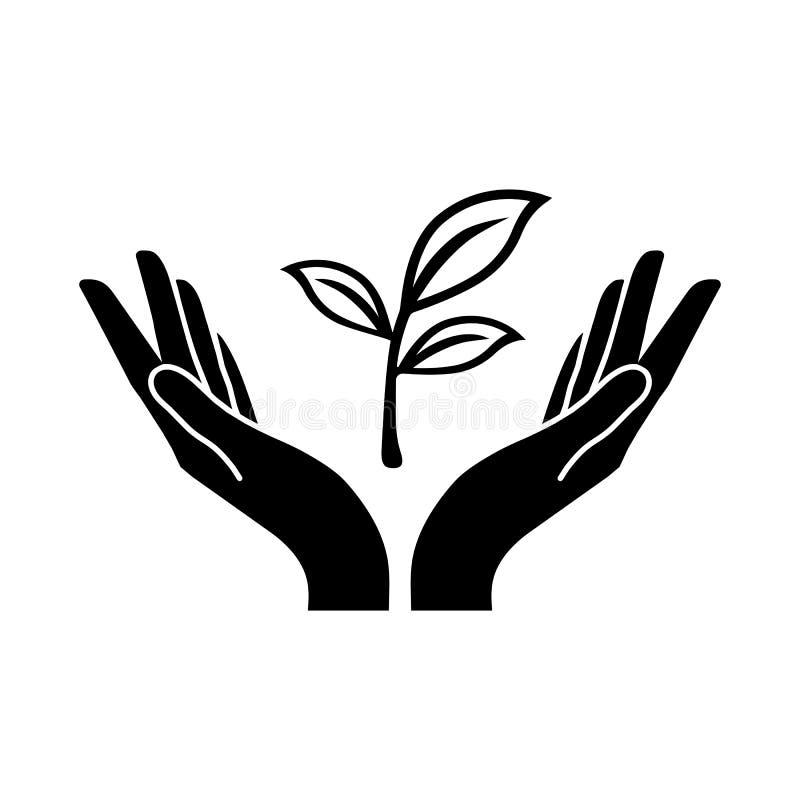 Växtvektorsymbol med två mänskliga händer royaltyfri illustrationer