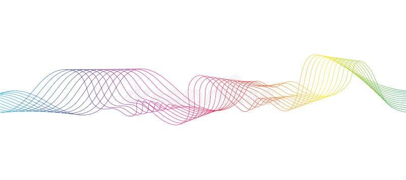 Våg av de många kulöra linjerna Abstrakta krabba band på en isolerad vit bakgrund stock illustrationer