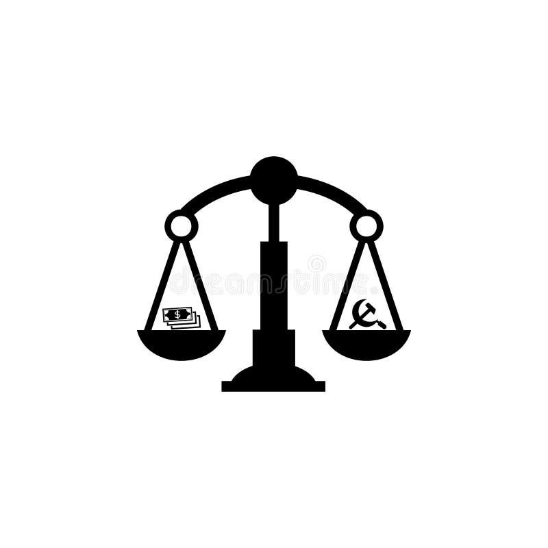 våg av kommunism- och kapitalismsymbolen Beståndsdel av kommunismillustrationen Högvärdig kvalitets- symbol för grafisk design un royaltyfri illustrationer