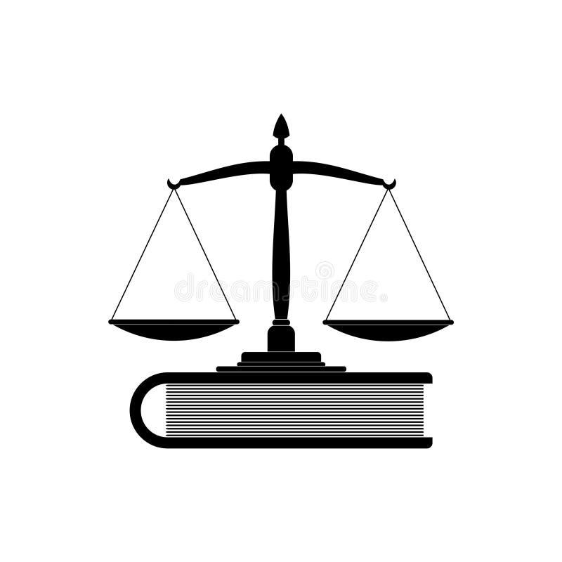 Våg av rättvisa och boksymbol eller logo vektor illustrationer