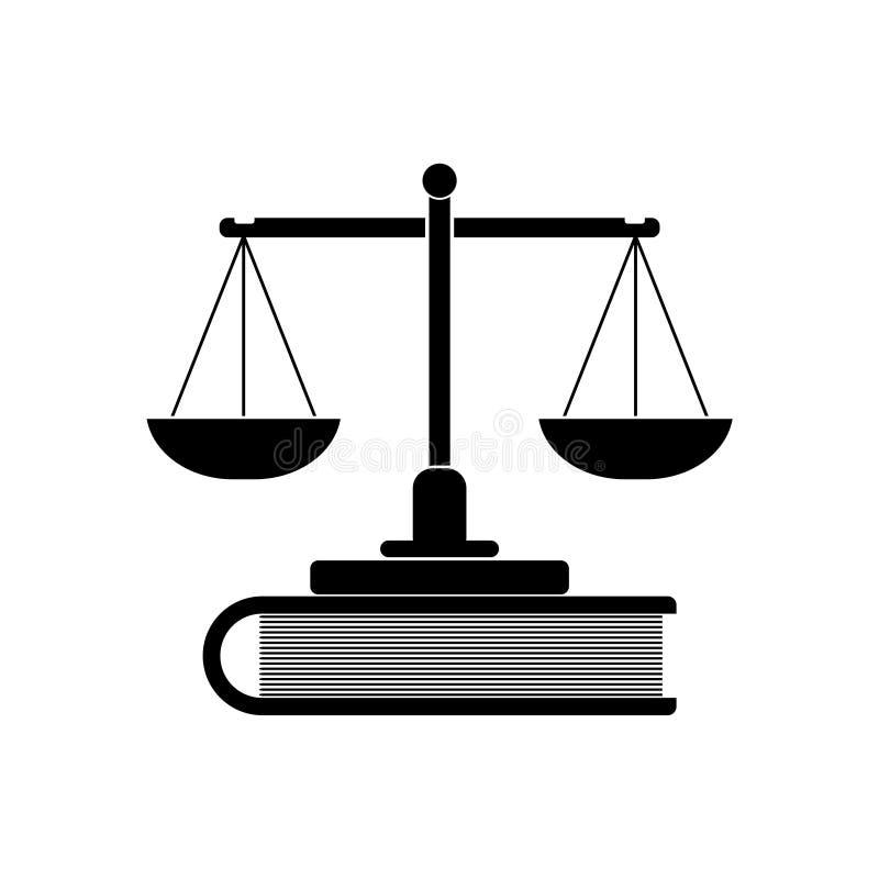 Våg av rättvisa och boksymbol eller logo stock illustrationer