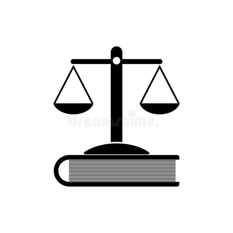 Våg av rättvisa och boksymbol eller logo royaltyfri illustrationer