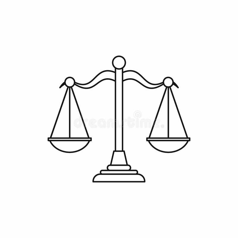 Våg av rättvisasymbolen, översiktsstil stock illustrationer