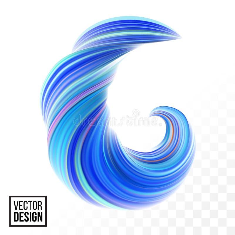 Våg för abstrakt begrepp 3D för vektor för färgmålarfärgbakgrund royaltyfri illustrationer