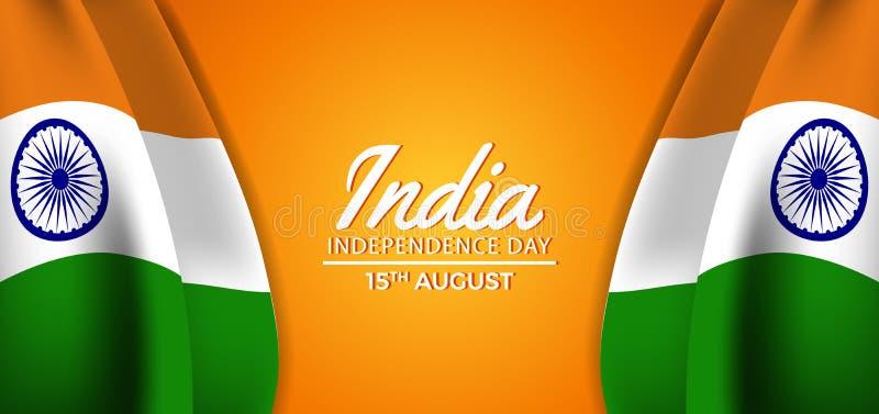 Våg för flagga för hindi självständighetsdagen för 15 August India dubbel med orange bakgrund vektor illustrationer