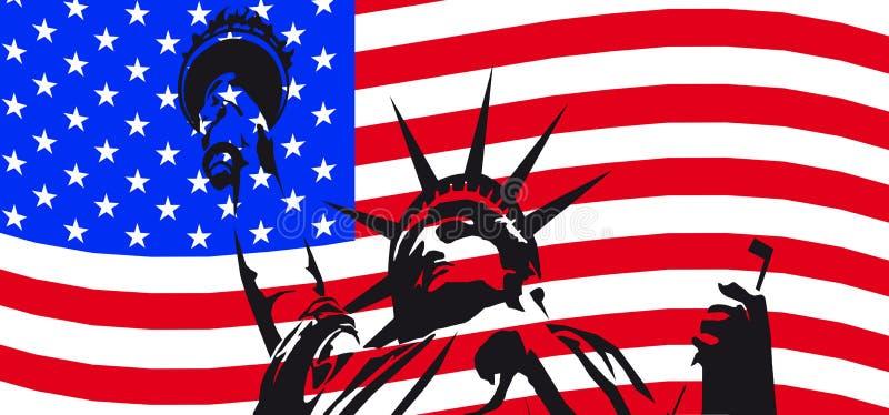 våg för flaggafrihetstaty vektor illustrationer