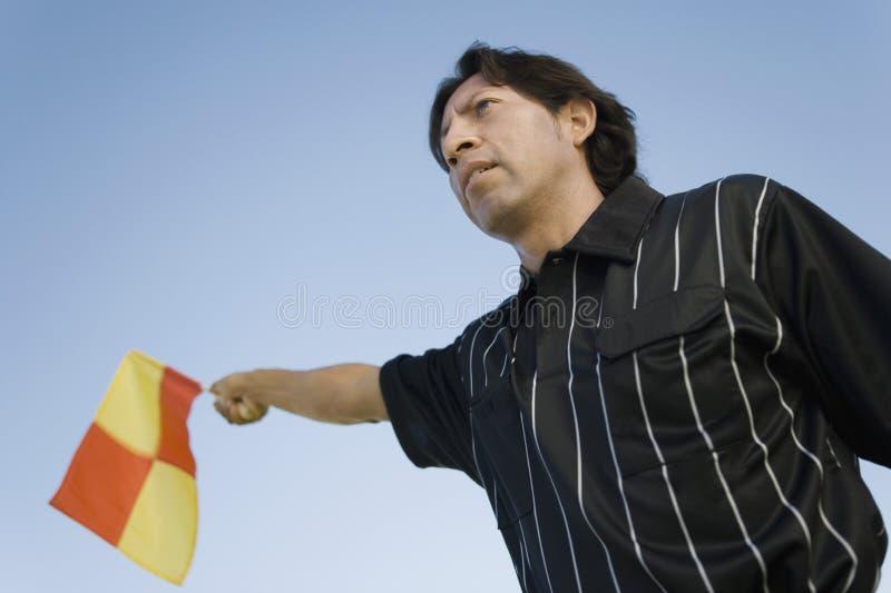 våg för flaggalinjedomarefotboll royaltyfri fotografi