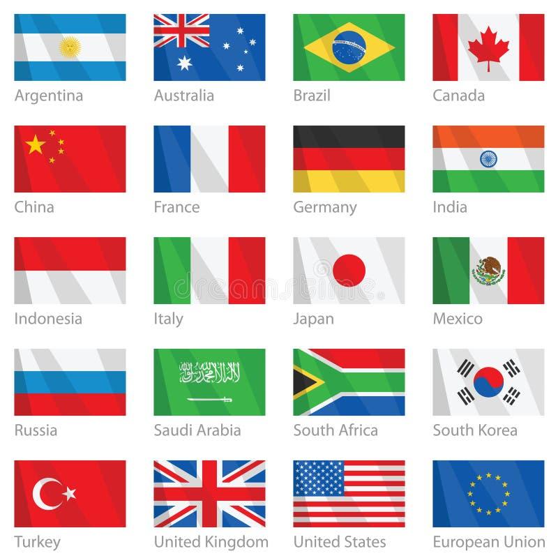 våg för G för 20 landsflaggor royaltyfri illustrationer