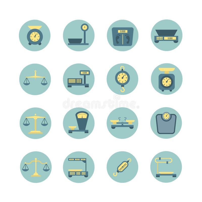 Våg för jämvikt för tappning elektroniska och mekaniska, symboler för vektor för viktmätningslägenhet vektor illustrationer