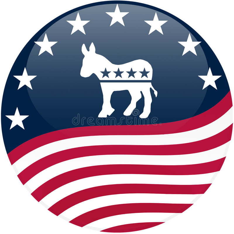 våg för knappdemokratflagga stock illustrationer