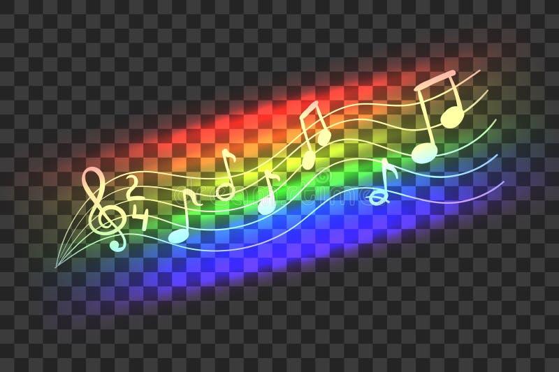 Våg för musik för abstrakt begrepp för färg för vektorneonregnbåge, musikaliska anmärkningar, isolerad illustration royaltyfri illustrationer
