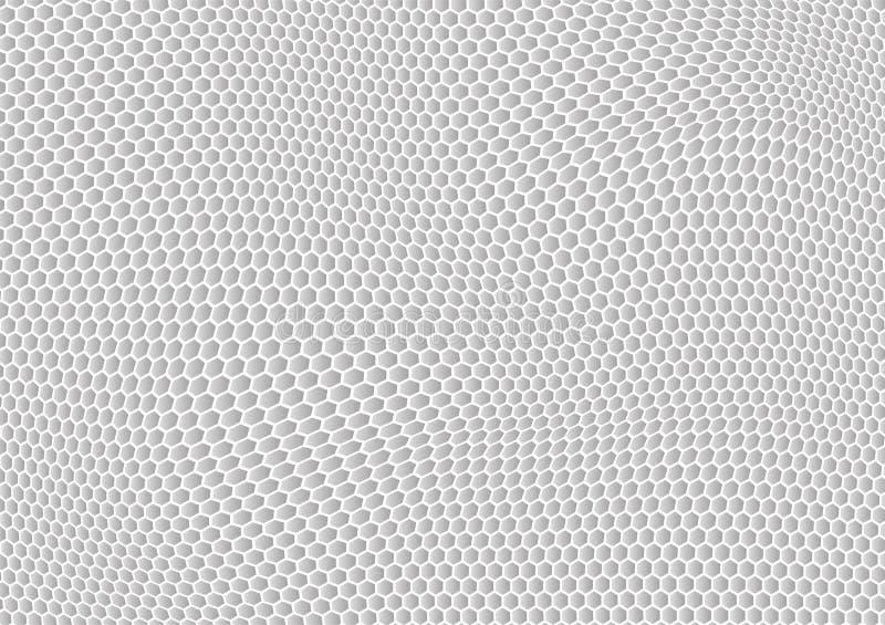 Våg för sexhörning för abstrakt vektorbakgrund vit stock illustrationer