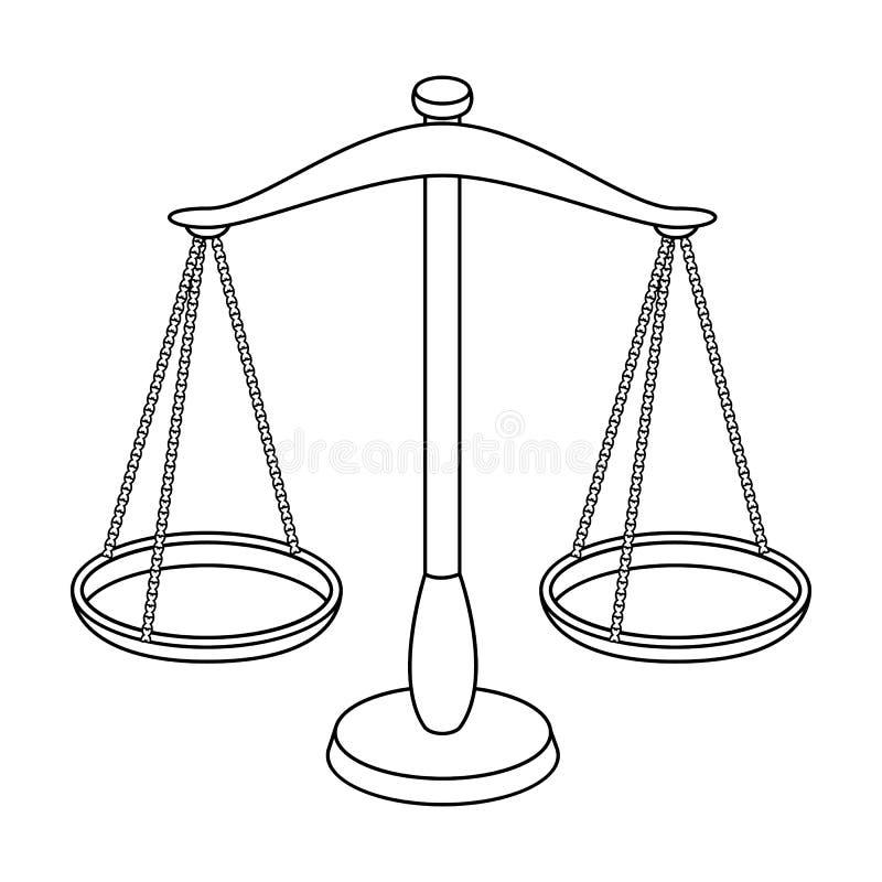 Våg för smycken Vikter för att mäta bestraffning Enkel symbol för fängelse i materiel för symbol för översiktsstilvektor vektor illustrationer