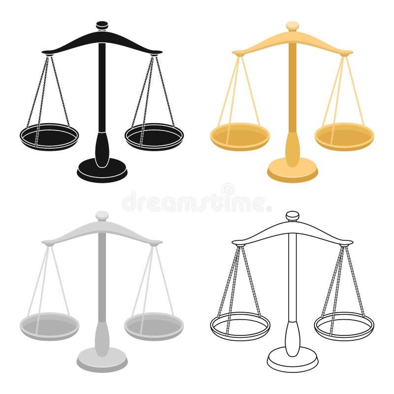 Våg för smycken Vikter för att mäta bestraffning Enkel symbol för fängelse i materiel för symbol för tecknad filmstilvektor vektor illustrationer