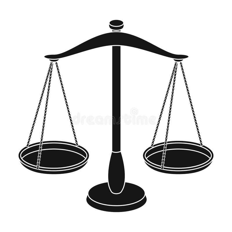 Våg för smycken Vikter för att mäta bestraffning Enkel symbol för fängelse i svart illustration för materiel för stilvektorsymbol royaltyfri illustrationer
