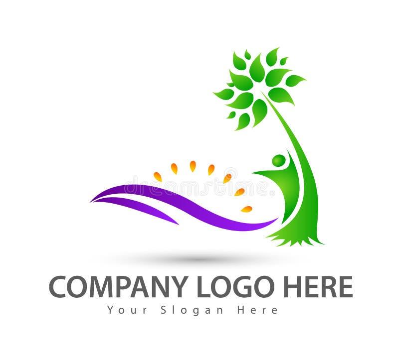 Våg för strandlogovatten med logo för vektor för palmträd för kokosnöt för strand för sommar för ferie för turism för folksymbols stock illustrationer