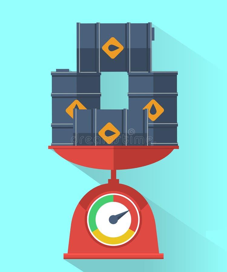 Våg med olje- trummor Oljeprisbegrepp vektor illustrationer