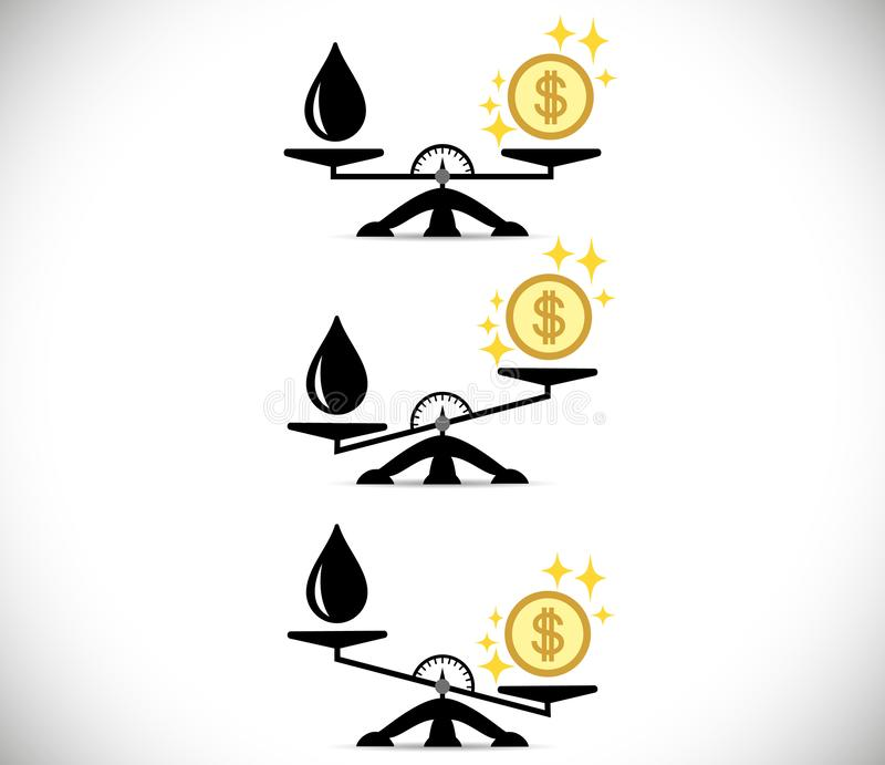 Våg-, oljaprodukt, pengar eller finans choice begrepp Plan stil Vektorillustration på isolerad bakgrund vektor illustrationer