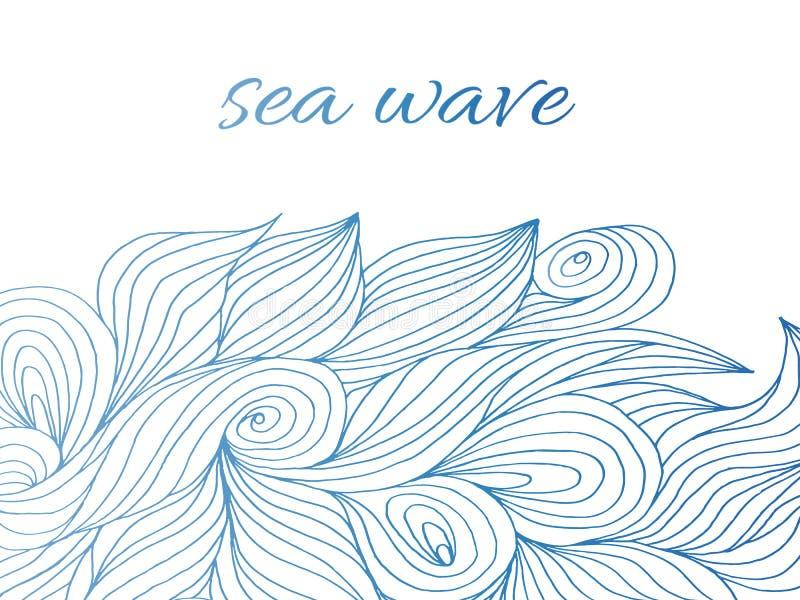 vågen hand-drog modellen, havet vinkar bakgrund royaltyfri illustrationer