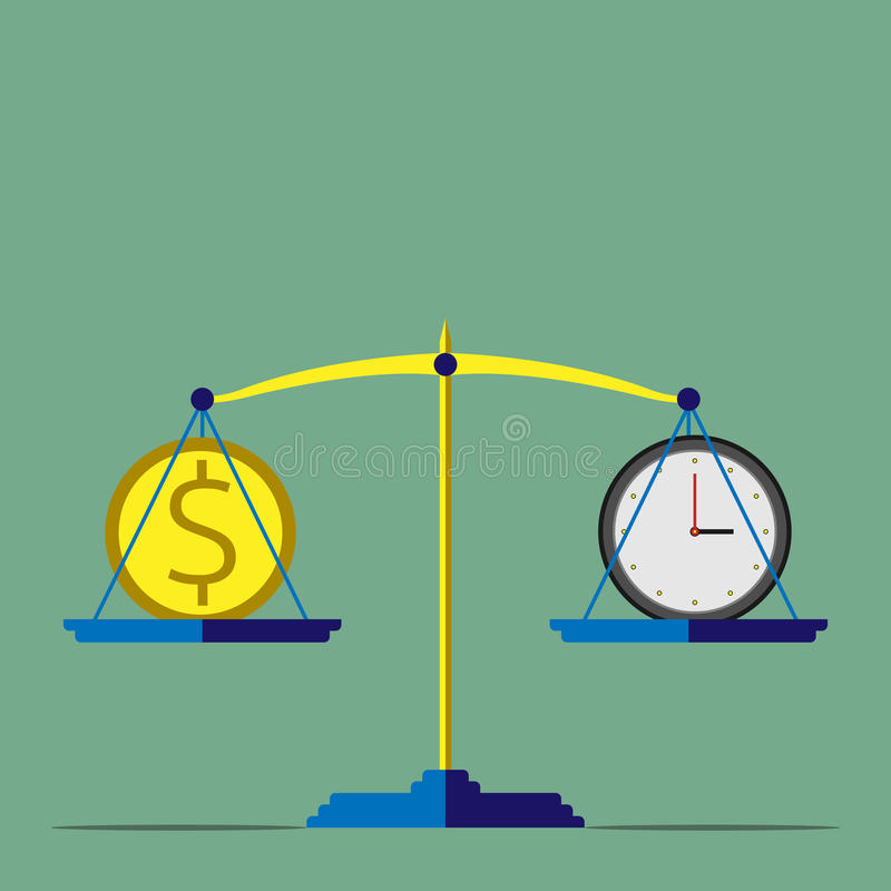 Vågen tid är pengar royaltyfri illustrationer