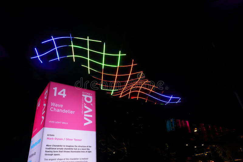 Vågljuskronaljus på livliga Sydney arkivfoto