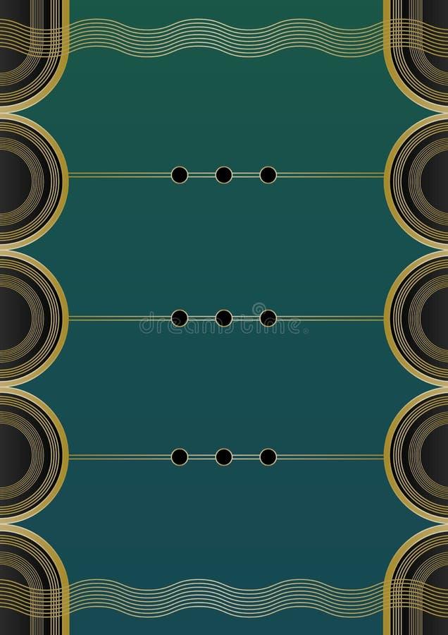Vågor Art Deco Background stock illustrationer