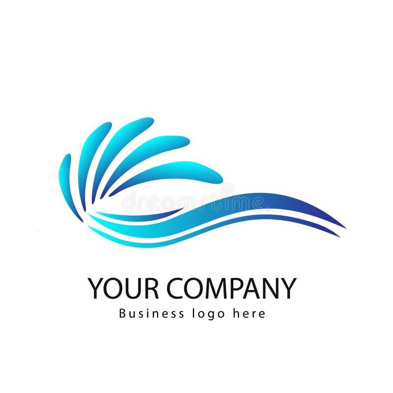 Vågor av havs- eller havvågor, blått vatten, färgstänk och kuling, vektor Kurva logo royaltyfri illustrationer