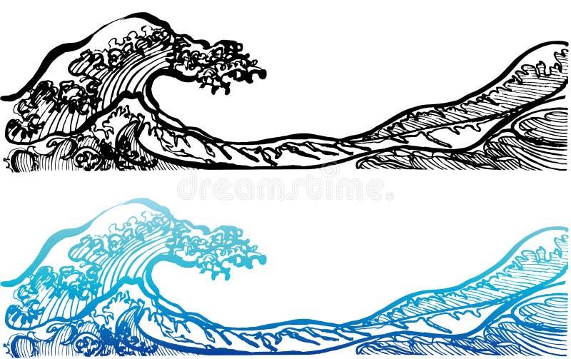 Vågor för japansk stil vektor illustrationer