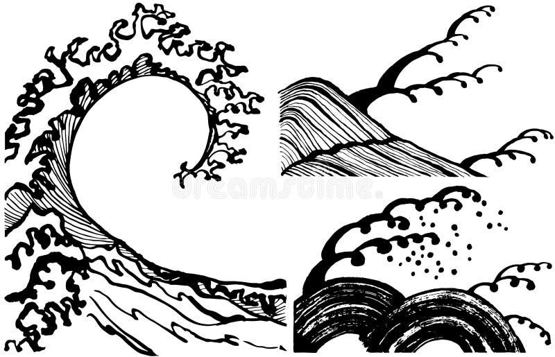 Vågor för japansk stil stock illustrationer