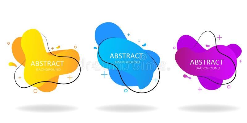 Vågor för vätskelutning Abstrakt geometrisk form på isolerad bakgrund Fluid design Modern mall för reklamblad, logo eller affisch royaltyfri illustrationer