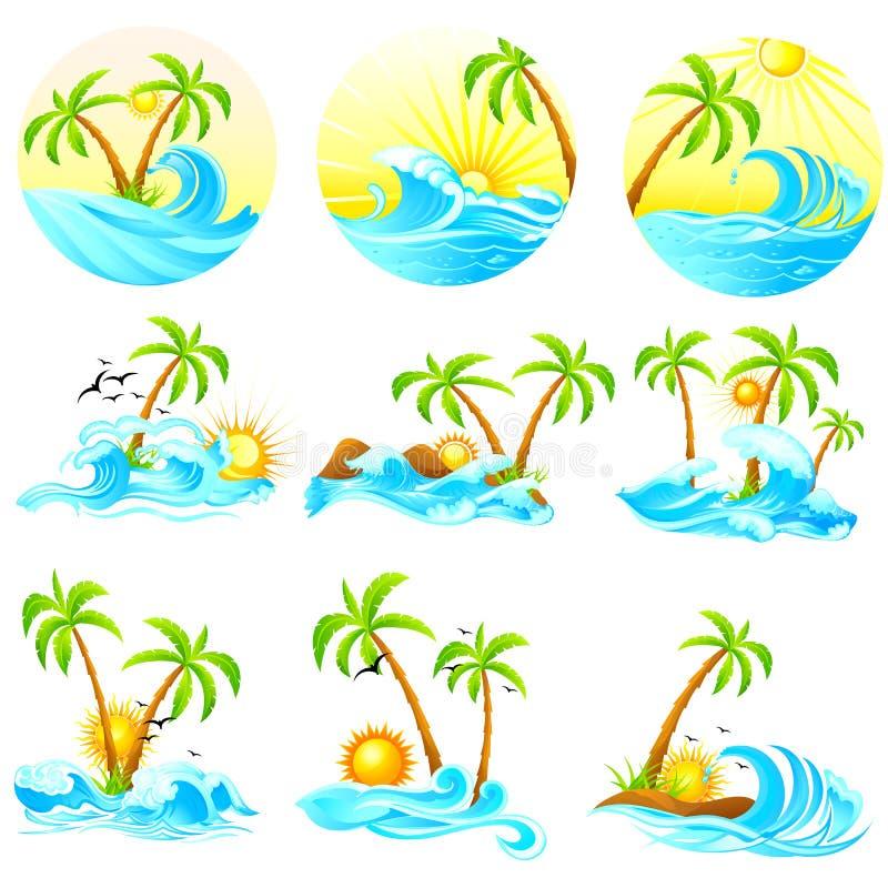 Vågor med palmträdet stock illustrationer