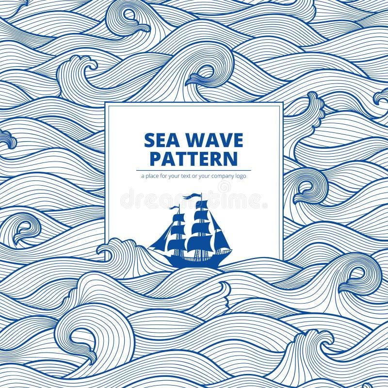 Vågor och skepp för vykortbanerhav arkivbilder