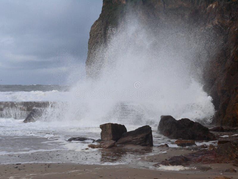 Vågor som kraschar på havsväggen och, vaggar på hoppliten vikhamnen i Devon, England arkivbilder