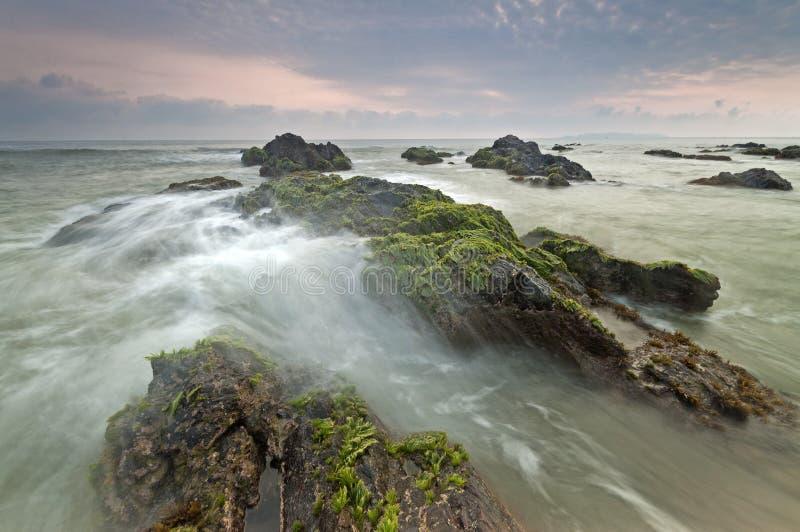 Vågor som sveper mot, vaggar i den Pandak stranden, Terengganu, Malaysia royaltyfria foton