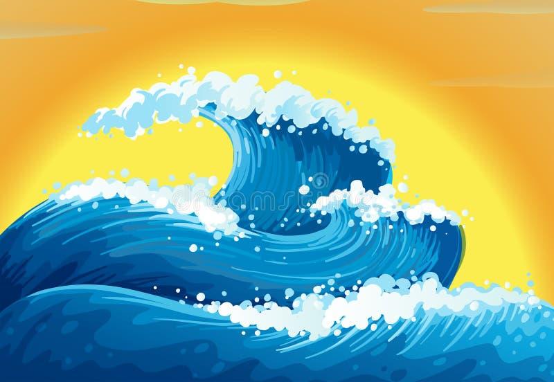 Vågorna och solen vektor illustrationer