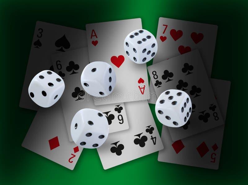 Vågspelet med tärnar rullning och olika spela kortklubbor, diamanter, hjärtor och spadar i bakgrund med dramatisk ljus effekt vektor illustrationer