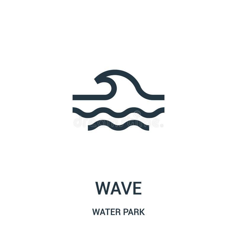 vågsymbolsvektorn från vatten parkerar samlingen Tunn linje illustration för vektor för vågöversiktssymbol Linjärt symbol för bru stock illustrationer