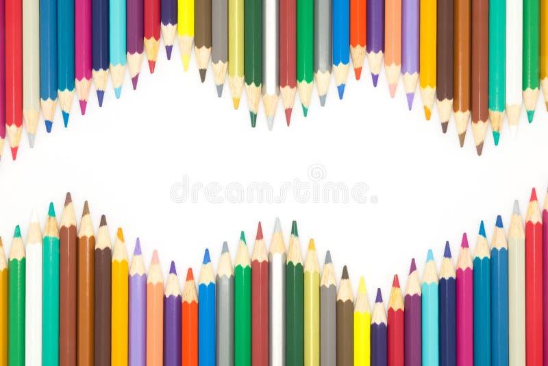 Vågträsko av träblyertspennan för åtskillig färg royaltyfria foton